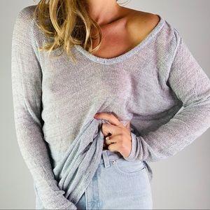 BRANDY MELVILLE Grey V Neck Cotton Loose Knit